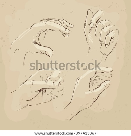 Hands drawing vector illustration realistic sketch