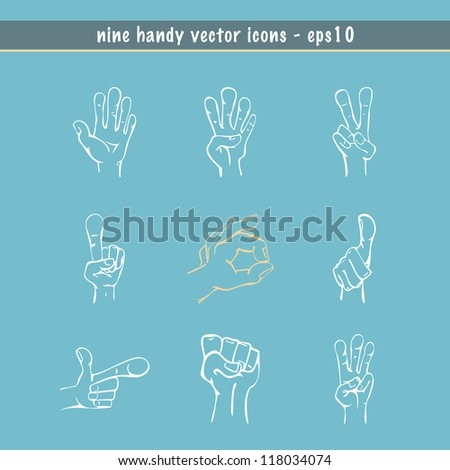Hands drawn in sketch style with nine different expressions in vector
