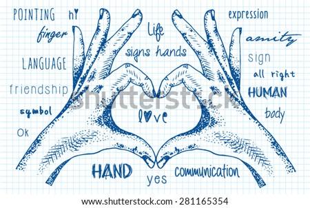 hands folded heart - stock vector