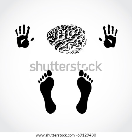 hands foots and brain - illustration - stock vector