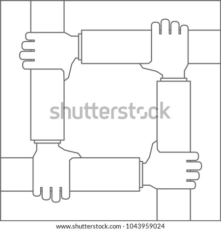 hands frame four friends concept outline icon