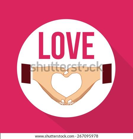 Hands gesture design over pink background, vector illustration - stock vector