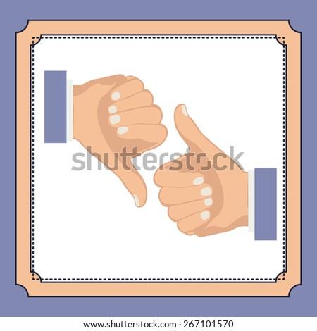 Hands gesture design over purple background, vector illustration - stock vector
