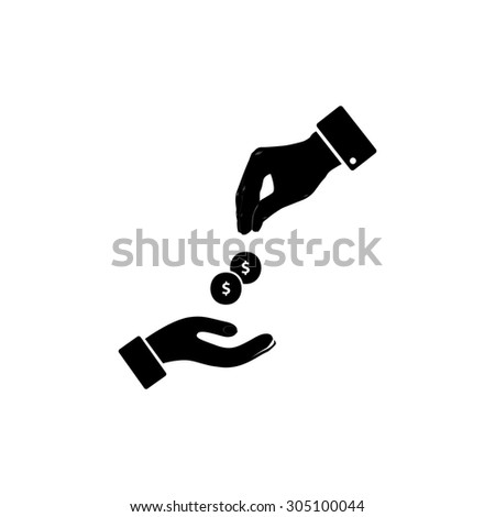 Hands Giving and Receiving Money. Black simple vector icon - stock vector