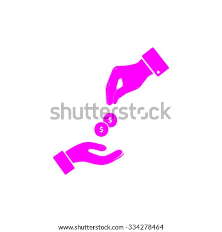 Hands Giving and Receiving Money. Pink flat icon. Simple vector illustration pictogram on white background - stock vector