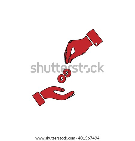 Hands Giving and Receiving Money. Red flat simple modern illustration icon with stroke. Collection concept vector pictogram for infographic project and logo - stock vector