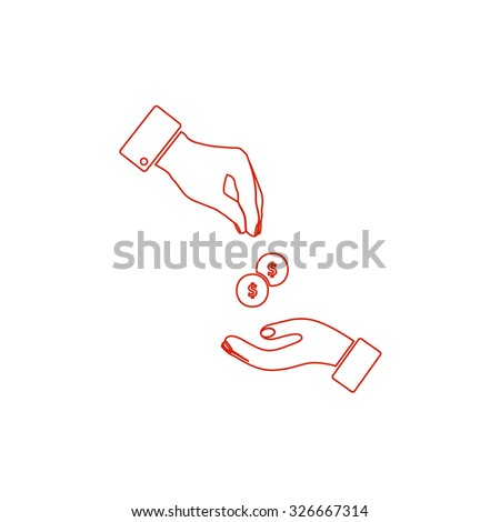 Hands Giving and Receiving Money. Red outline vector pictogram on white background. Flat simple icon - stock vector