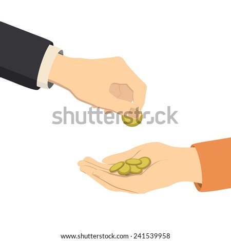 hands giving and receiving money, vector illustration - stock vector
