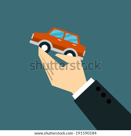 Hands Giving car - stock vector