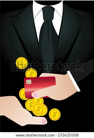 Hands Giving & Credit card holding, money , business,tuxedo  - stock vector