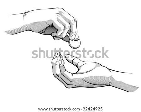 Hands Giving & Receiving Money (Black and White version)