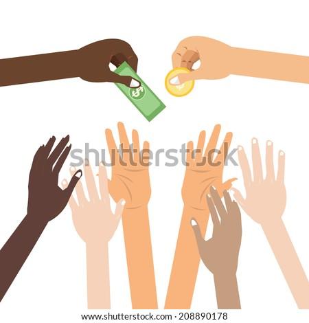 Hands giving receiving money donation - stock vector