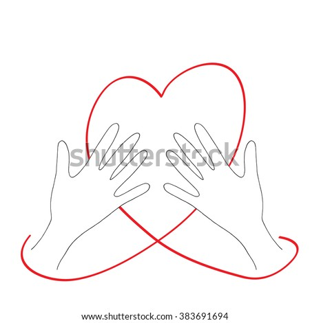 Hands grasping the heart. Vector charity and volunteer concepts and logo design elements. Emblems and signs for nonprofit and philanthropic organizations and centers. Hand drawn illustration.