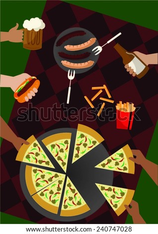 hands handling party food on a table  - stock vector