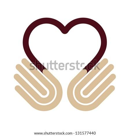 Hands heart, symbol, vector - stock vector