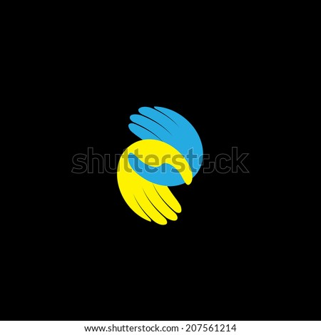 hands held together - support, care, love & friendship concept vector. This graphic illustration also represents empathy, sympathy, kindness, loyalty, oneness, being connected, compassion - stock vector