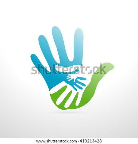 hands helping illustration background - stock vector