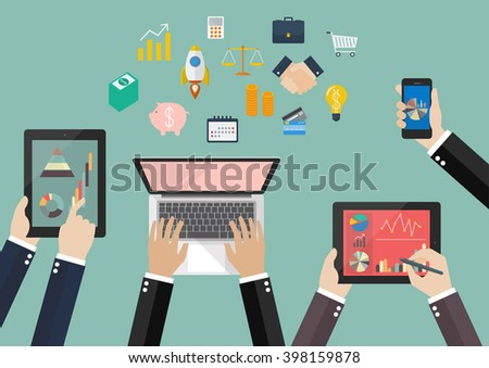 Hands hold device electronics gadget with flat icon. Business laptop phone tablet flat vector illustration - stock vector