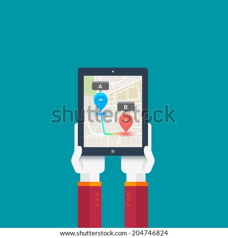 Hands hold smartphone with map of imaginary city with GPS icon and pin template of navigation system - stock vector