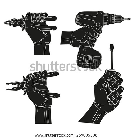 Hands hold tools. Silhouettes of hands with tools. Hand with screwdriver, hand hold pliers, hand with electric screwdriver. - stock vector