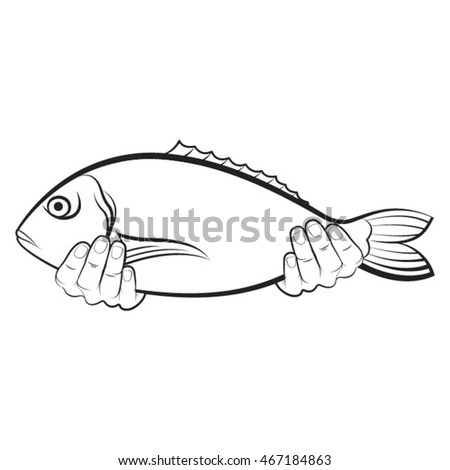 hands holding a big fish in outline-vector drawing