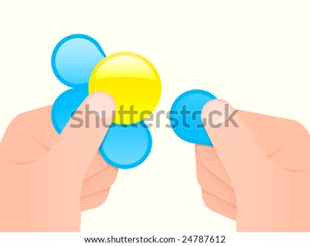 Hands holding a flower - she loves me/not - vector - stock vector