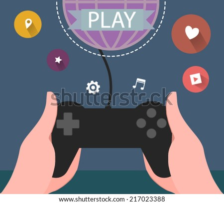hands holding a gaming controller - flat design vector