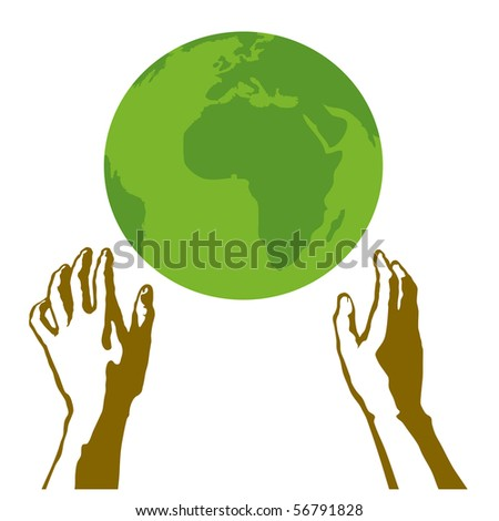 Hands holding a green earth - stock vector