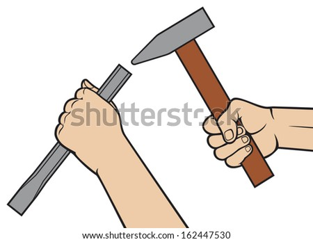 hands holding a hammer and chisel (hammer in hand, chisel in hand) - stock vector