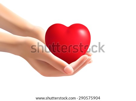 Hands holding a heart. Vector.