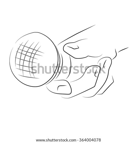 Hands holding a lantern, hand holding pocket flashlight included. Pencil vector drawing on the theme of use of the lamp.