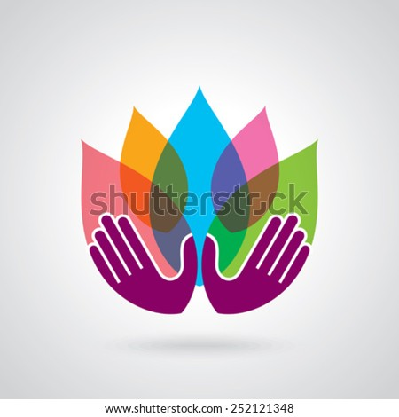 Hands holding a Lotus flower vector icon - stock vector
