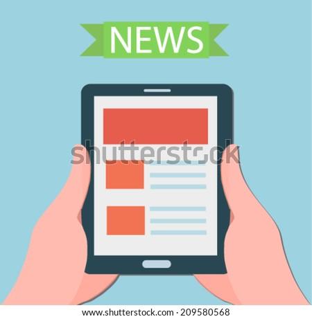 Hands holding a modern digital tablet with news - flat design vector - stock vector