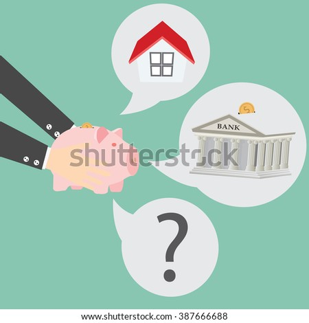 Hands holding a piggy bank and a house vector. Housing industry mortgage plan and residential tax saving strategy - stock vector
