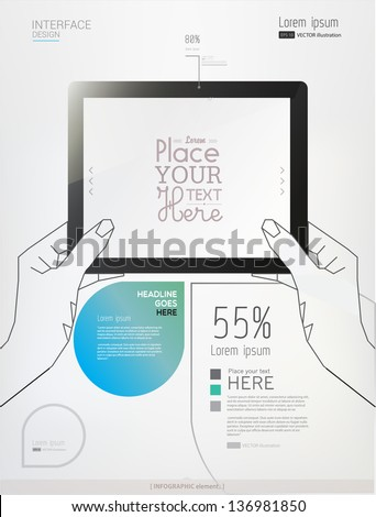 Hands holding a tablet on white background. Abstract Info graphic elements. Vector illustration/eps 10