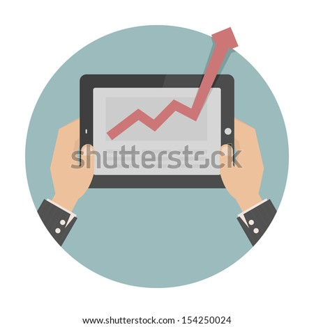 Hands holding a tablet with graph , eps10 vector format - stock vector