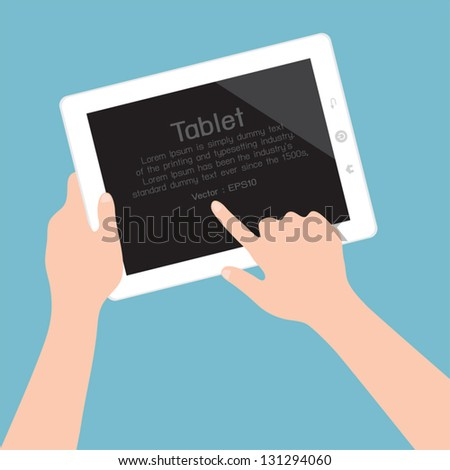 Hands holding and pointing on tablet, vector - stock vector