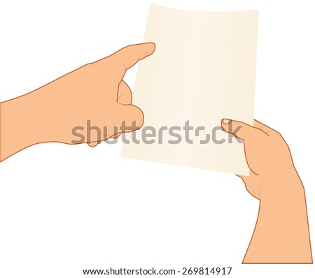 hands holding and pointing to blank paper, vector illustration, isolated background