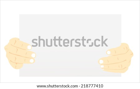 Hands holding blank advertisement card with copy space - stock vector