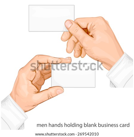 Hands holding blank business cards. vector illustration - stock vector