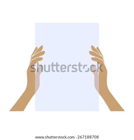 Hands Holding Blank Paper on White Background. Vector - stock vector