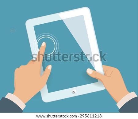 Hands holding blank tablet. Vector illustration - stock vector