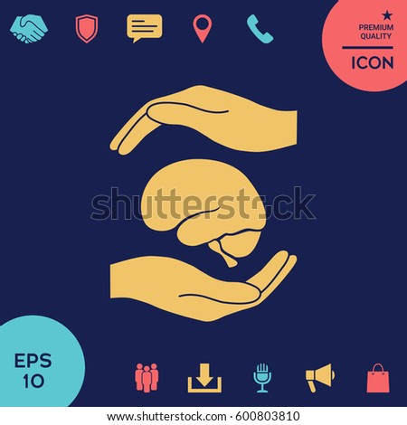 Hands holding brain - protection symbol
