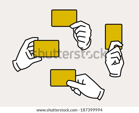 Hands holding card - stock vector