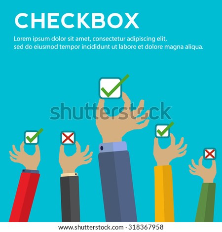 Hands holding check boxes with right and wrong answers vector concept - stock vector