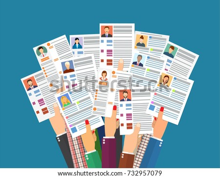 hands holding cv resume documents human stock vector 732957079