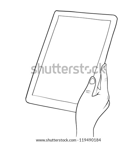 Hands holding digital tablet pc sketch vector illustration - stock vector