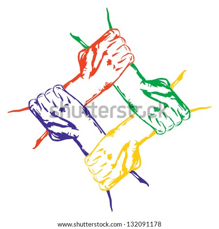 hands holding each other in unity  cartoon vector  illustration - stock vector