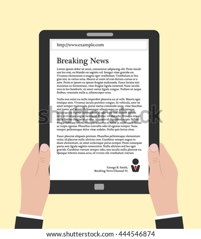 Hands holding electronic book or smart-phone, flat design concept. Using e-book, eps 10 vector illustration. Man reading news online. Person in suit holding tablet or smart phone with text on it. - stock vector