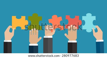 Hands holding five jigsaw puzzle pieces together. The problem solution or business organization concept. Vector illustration